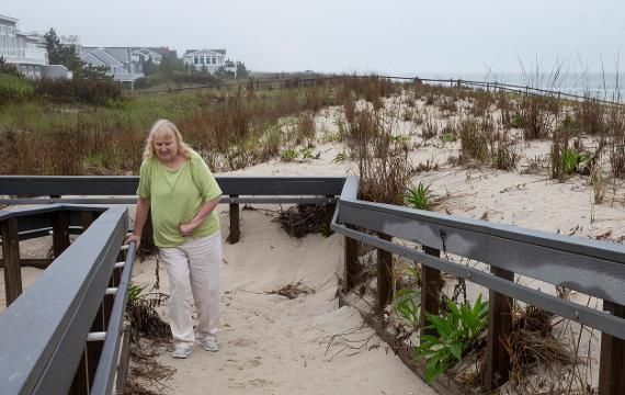 Elizabeth Greber, a disabled Princeton Junction woman who owns a Harvey Cedars summer house is suing the borough because they banned vehicles on the beach. Greber, who suffered a stroke in 2008 bought a beach vehicle to get her onto the beach.