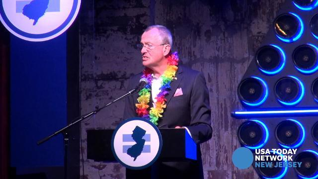 Gov. Phil Murphy addresses the Garden State Equality Ball at Asbury Lanes in Asbury Park