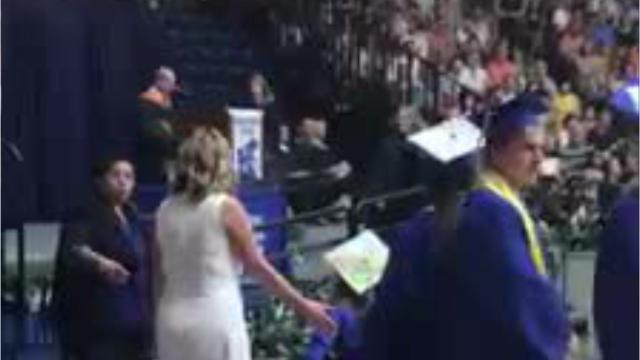Family members are speaking out after a Holmdel High School student was not allowed to ride her wheelchair up the ramp and onstage to accept her diploma.