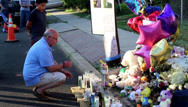 At 7 p.m. Monday and Tuesday people have been gathering at the makeshift shine at the scene opposite the church for a prayer service to remember Matias Ortega, who was killed this past weekend on his first birthday by an alleged intoxicated driver.