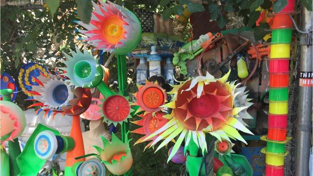 Take a tour of the gARTen, an outdoor trash art gallery on Cookman Avenue in Asbury Park.