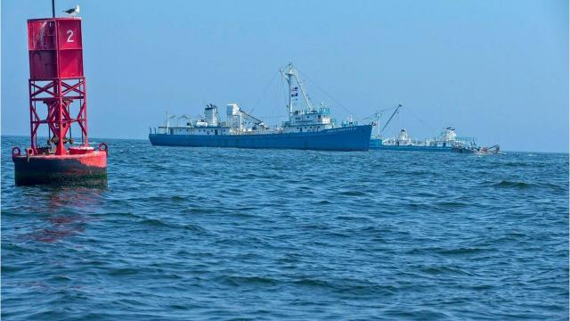 Omega Protein boats fish six miles off the New Jersey coast on Sept. 6.