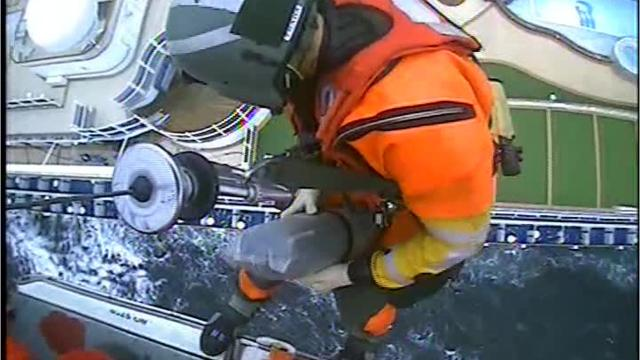 A Coast Guard Air Station San Francisco MH-65 Dolphin helicopter crew medevacs a 76-year-old woman from the cruise ship Star Princess approximately 35 miles southwest of the Golden Gate Bridge, Sept. 18, 2018. Cruise ship personnel contacted Coast Guard Sector San Francisco watchstanders requesting assistance for a passenger experiencing symptoms of gastrointestinal issues. Video by Petty Officer 2nd Class Cory Mendenhall