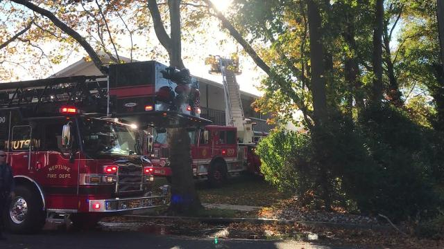 Firefighters from throughout the area are battling a major blaze at the Jumping Brook Apartments on Route 33 in Neptune.
