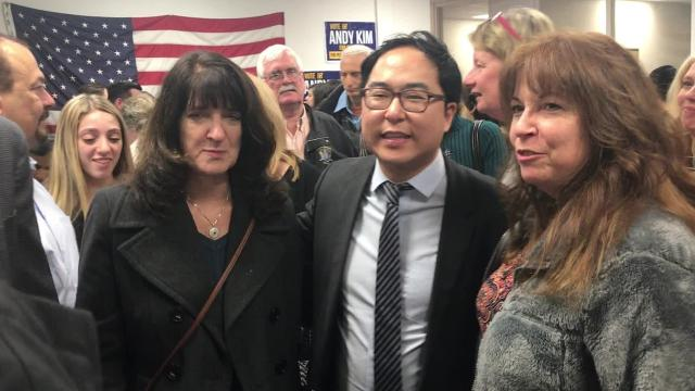 Democrat Andy Kim says he has defeated Republican incumbent Tom MacArthur in a district that spans major parts of Burlington and Ocean counties from the Delaware River to the Atlantic Ocean.