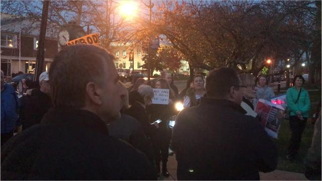 An estimated 100 protesters marched on Washington Street in downtown Toms River on Thursday night, in support of Special Counsel Robert Mueller's criminal investigation into alleged collusion between Russia and the 2016 campaign of President Donald Trump.