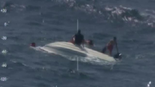 Raw: 5 saved from capsized boat off North Carolina