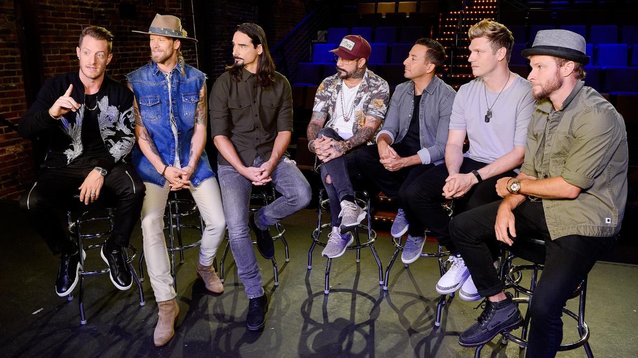 Florida Georgia Line and The Backstreet Boys speak during a press conference at the Factory at Franklin Little Brick Theatre in Franklin, Tenn., Tuesday, Aug. 1, 2017.
