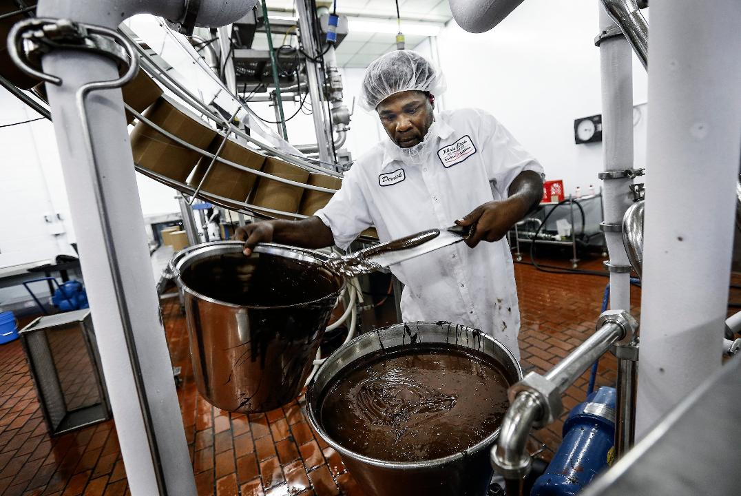 Klinke Bro. Ice Cream quality control employee Richard McGee does testing at the company's in Memphis plant, where it has been churning out Baskin-Robbins ice cream for nearly 50 years.