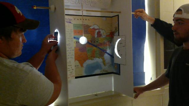 Students present eclipse project in physics class.