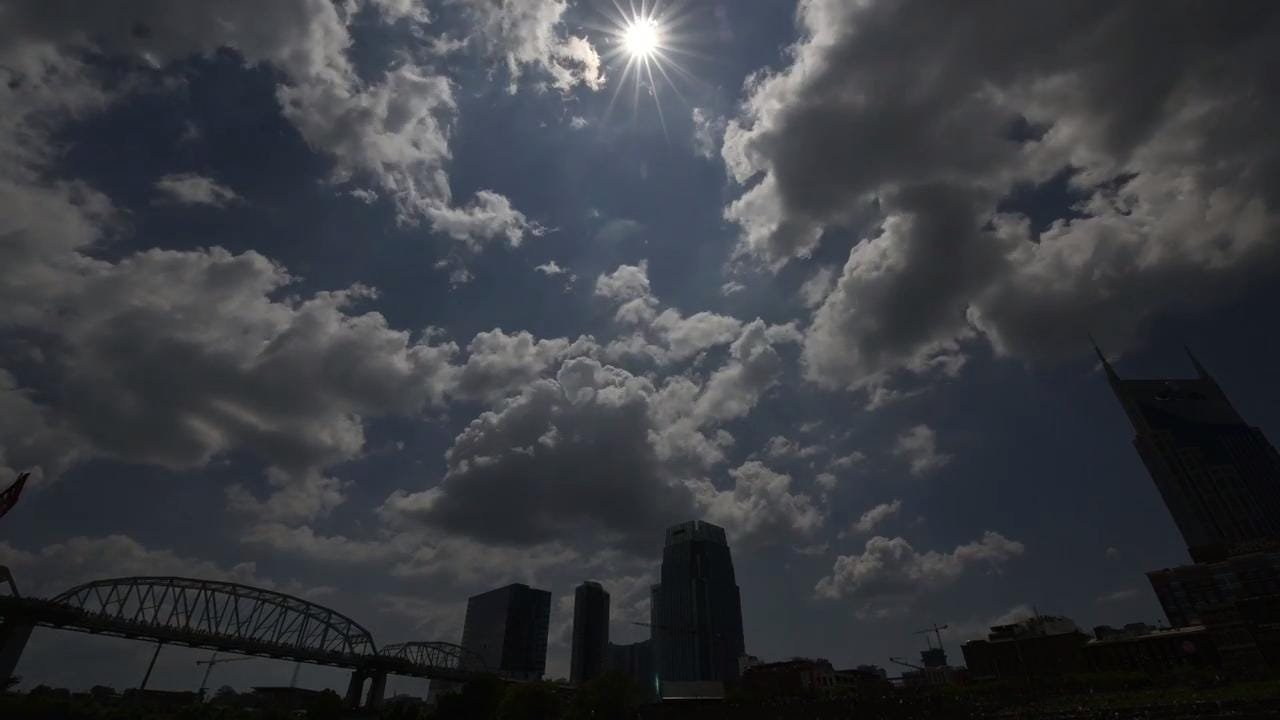Time lapse of the solar eclipse off the Cumberland River in Nashville, TN