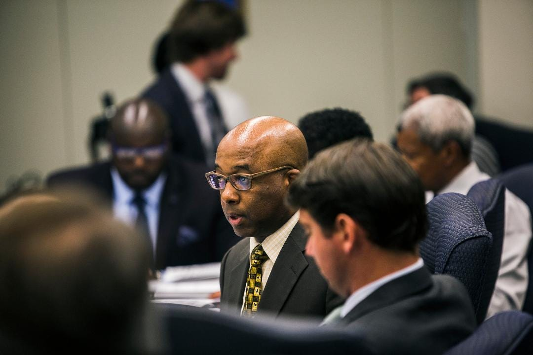 "City council member Martavius Jones makes passionate remarks during a Memphis City Council meeting at City Hall debating the ""immediate"" removal of Confederate monuments Nathan Bedford Forrest and Jefferson Davis."