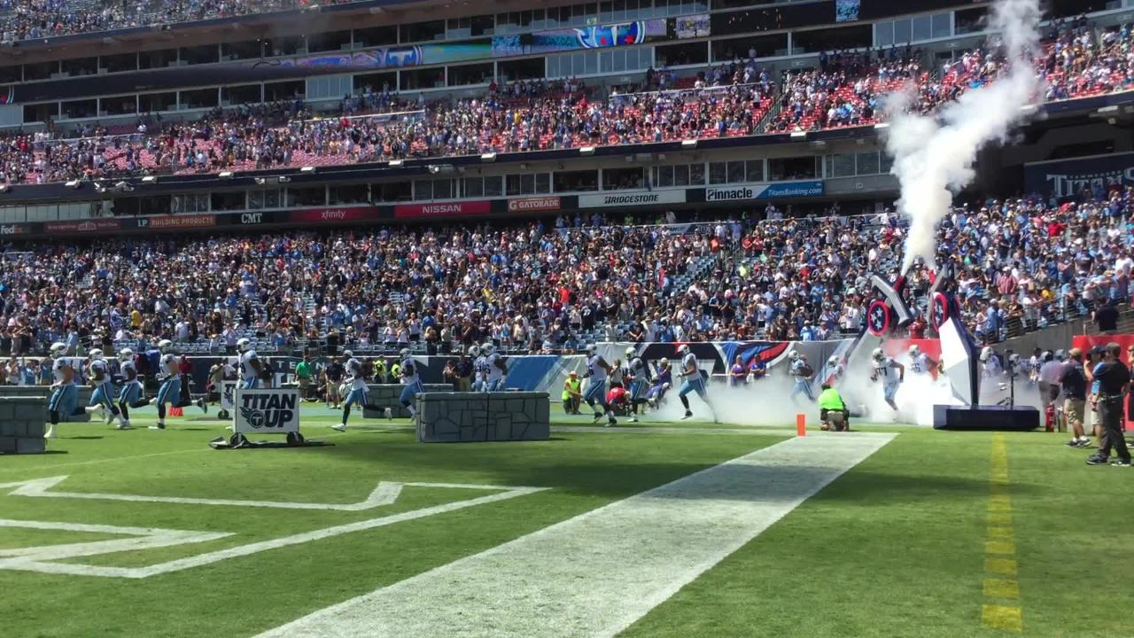 Titans take the field during Bears preseason game