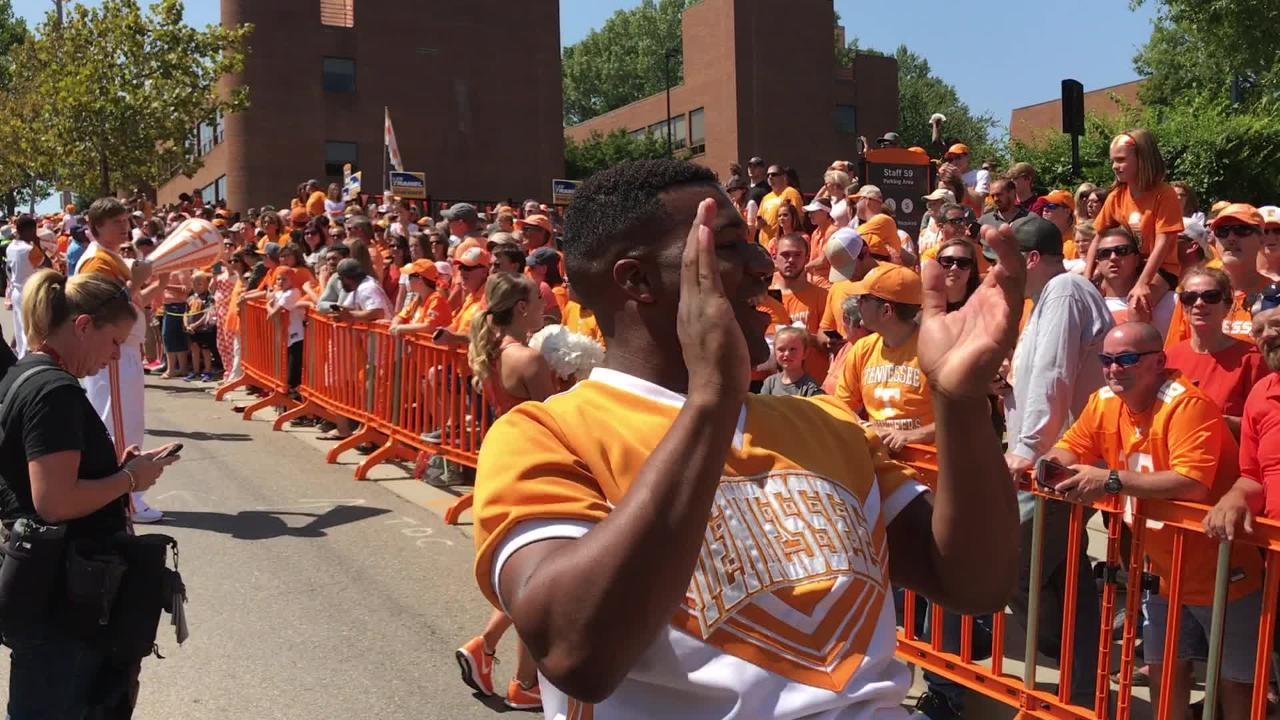 "Tennessee Vols cheerleaders lead ""We are UT"" cheer"