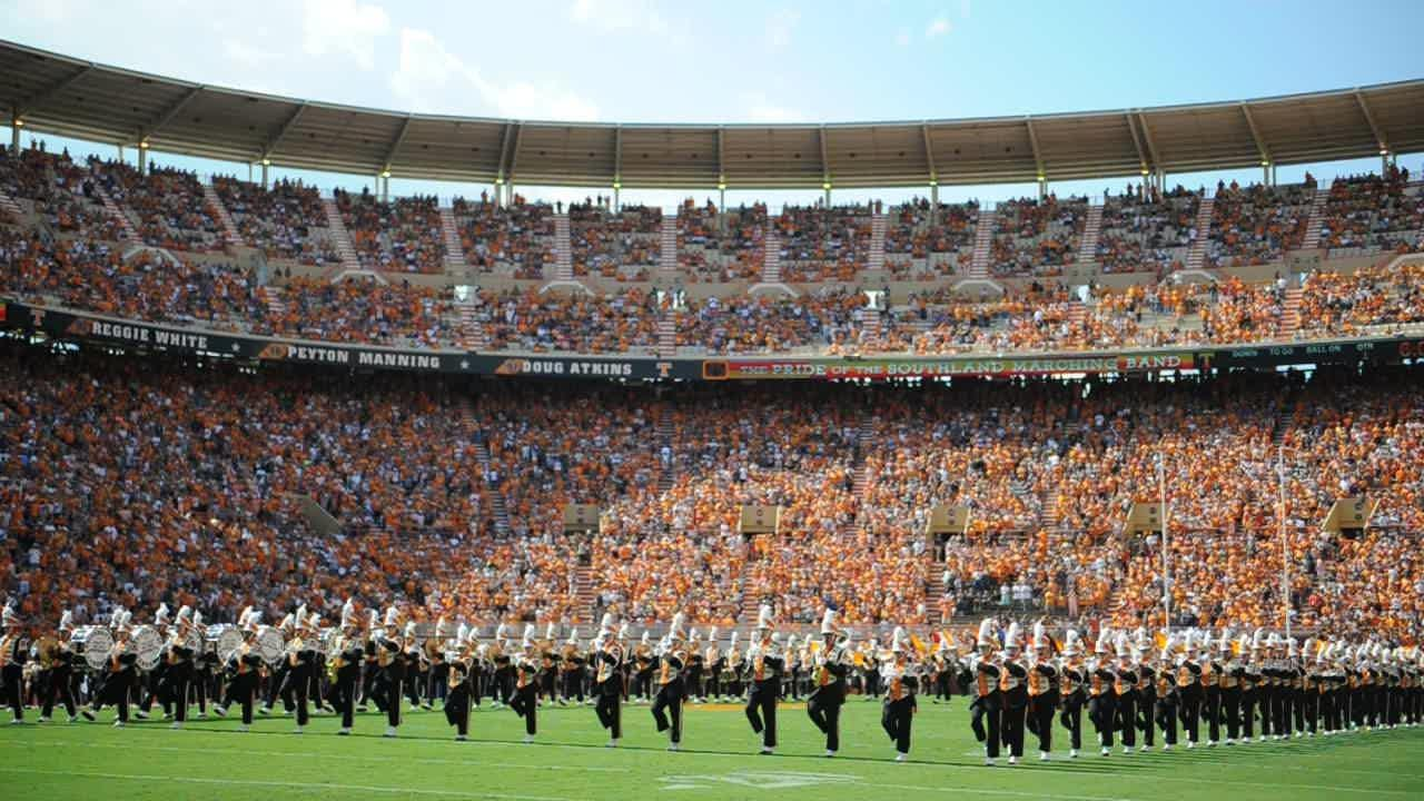 Pride of the Southland Band marches on the field
