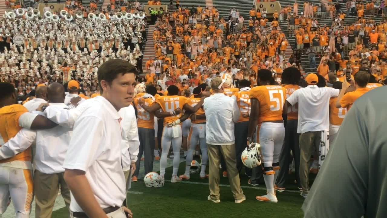 Tennessee Vols celebrate victory over Indiana State.