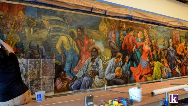 """Marion Greenwood painted the """"The History of Tennessee"""" mural as a visiting instructor at the University of Tennessee during 1954-55."""