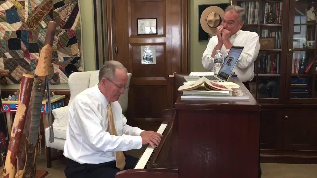 Senator Tim Kaine and Senator Lamar Alexander played the 'Tennessee Waltz' on Capitol Hill.