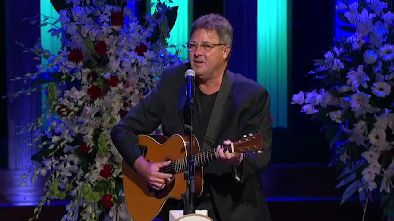 Vince Gill spoke about Troy Gentry at his funeral at the Grand Ole Opry House