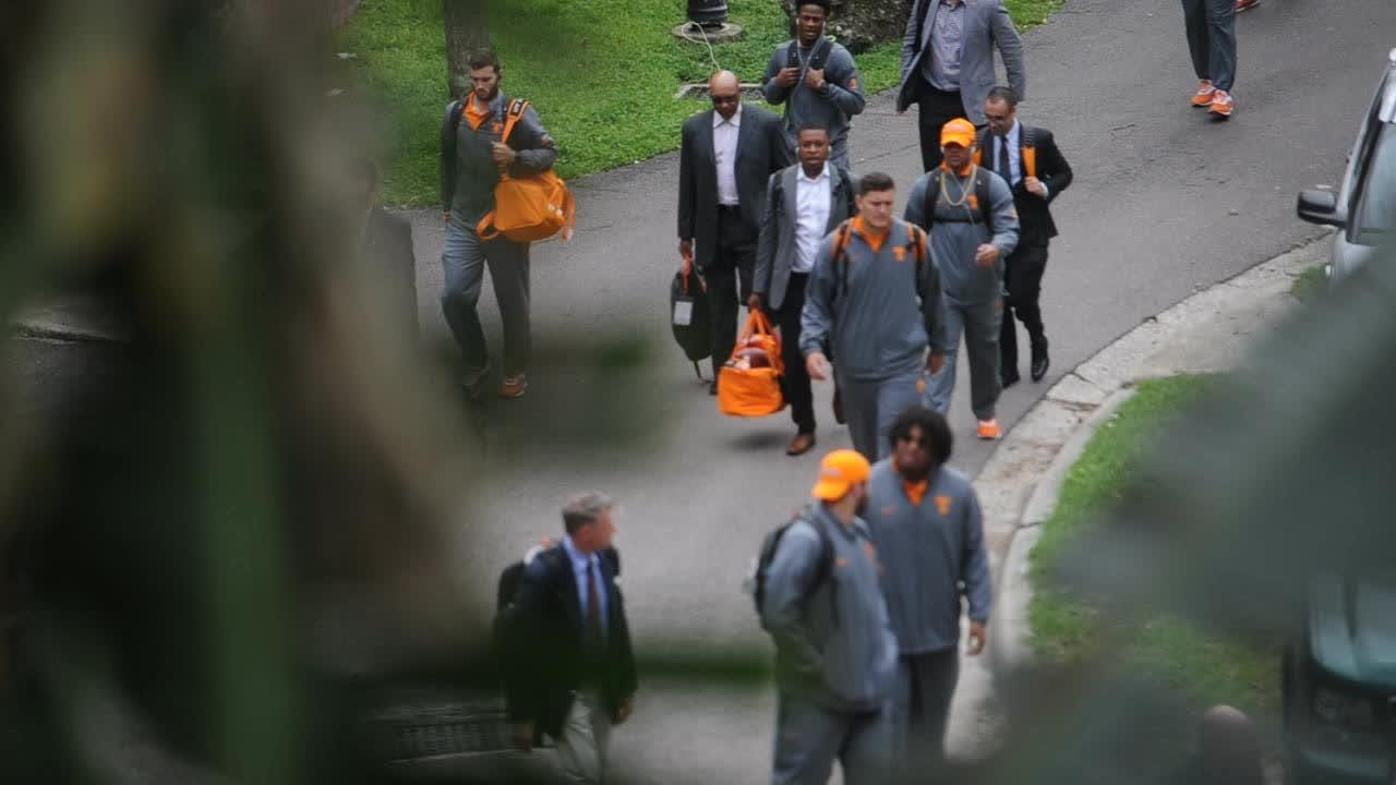 Tennessee Vols walk up to The Swamp before their game against Florida