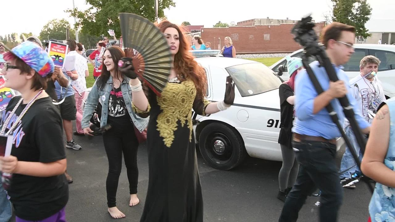 Crowds rally and cheer to support drag shows in the city of Portland.