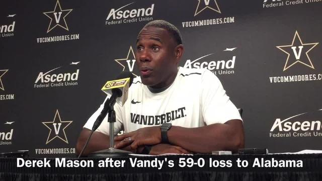 Derek Mason reacts to 59-0 loss to Alabama