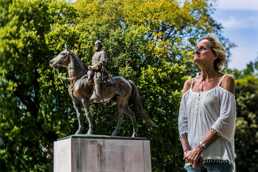 Peggy Weddendorf, a 64-year-old retiree from Bartlett, strongly feels the Confederate monuments in Memphis should remain standing. She says people don't know that Nathan Bedford Forrest, a former slave trader, became a born-again Christian.