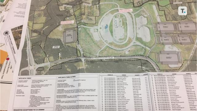 Panattoni Development Co. submits conceptual plan and requests a master plan amendment, but racetrack itself is not involved.