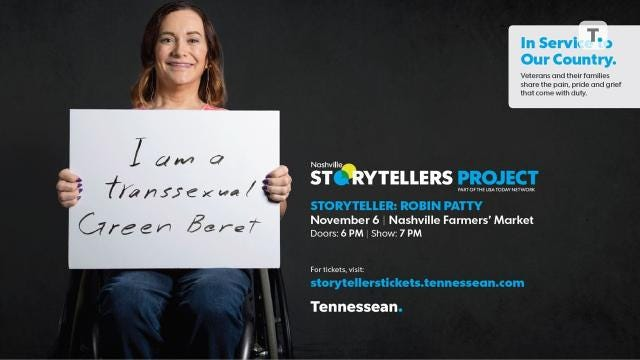 Transgender veteran soldier Robin Patty, a former Green Beret, will share her experiences at the next Nashville Storytellers