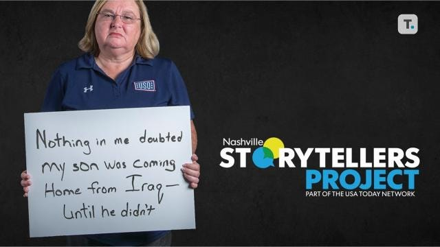 "Tammy Bass, a Gold Star mom, lost her son David while he was deployed in Iraq. ""Being a Gold Star mom means I raised a young man who was very selfless,"" she said. Hear her story at the next Nashville Storytellers on Nov. 6 at the Nashville Farmers' Market."