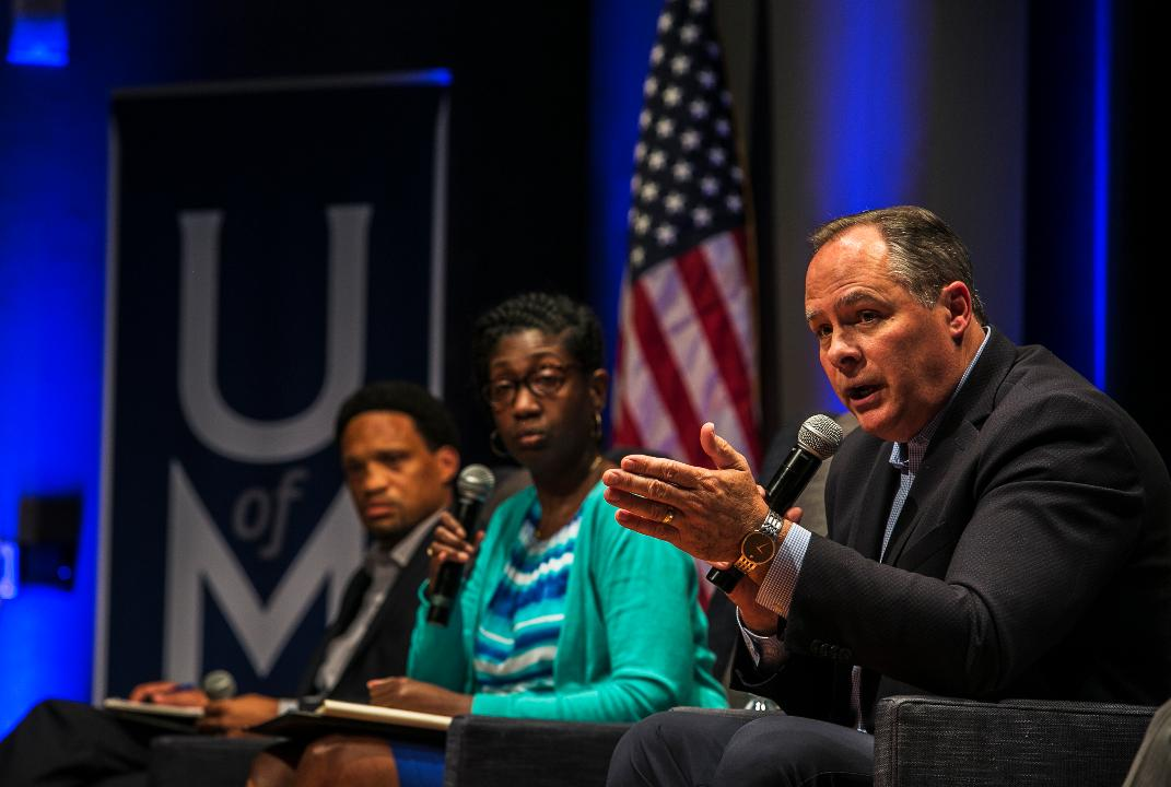 M. David Rudd, president of the University of Memphis, answers a question from a student during a two-hour public forum on sexual assault in the University Center Theatre on Wednesday.