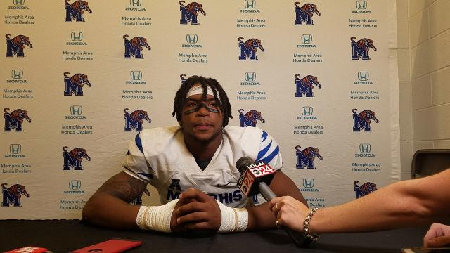 Memphis CB TJ Carter reacts to Tigers' comeback win at Houston