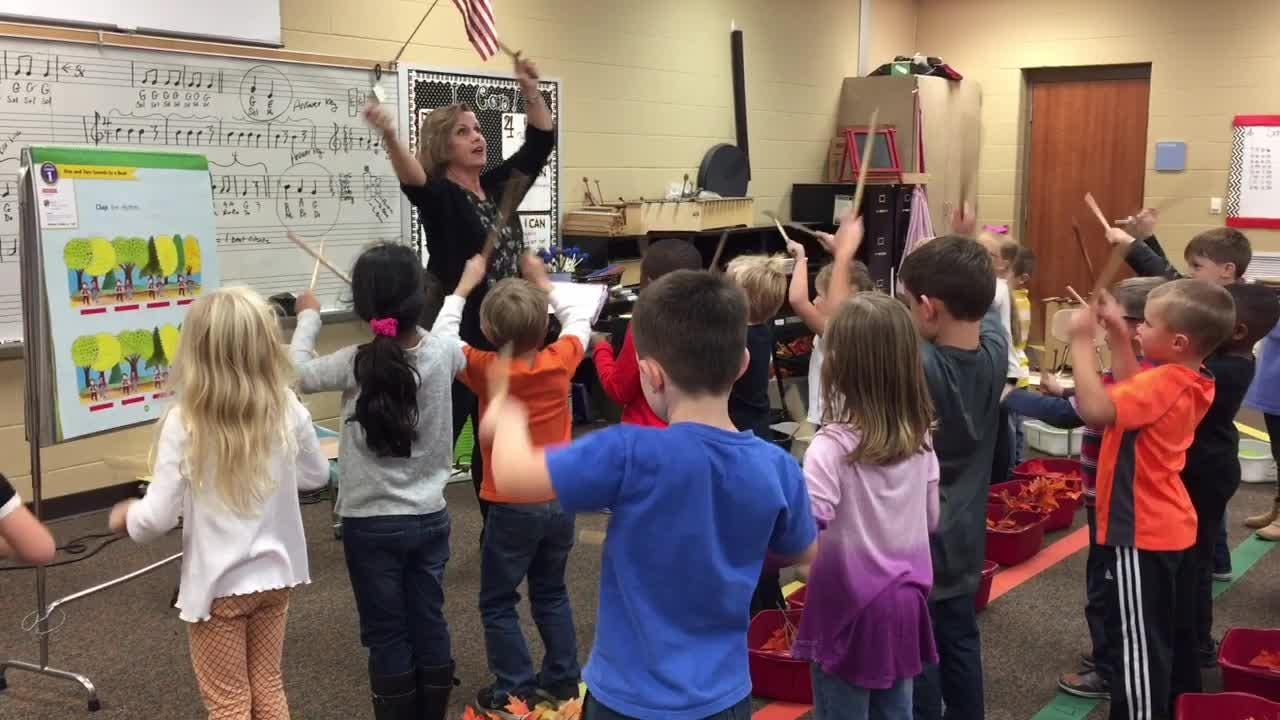 Station Camp kindergarteners have fun in music teacher Pam Andrews' class. Andrews is a semifinalist for the Grammy Music Educator Award.