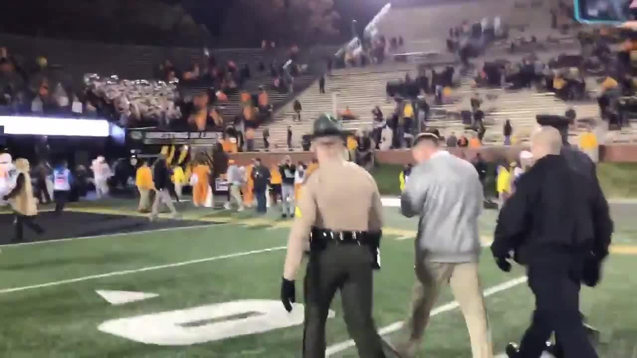 Butch Jones walks off the field after Mizzou loss