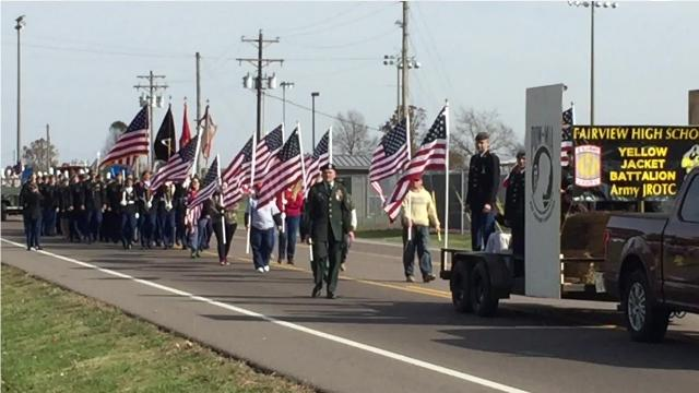 Fairview American Legion Post 248 hosted the community's first-ever Veterans Day Parade November 11, 2017 with a large number of residents showing their support for veterans.