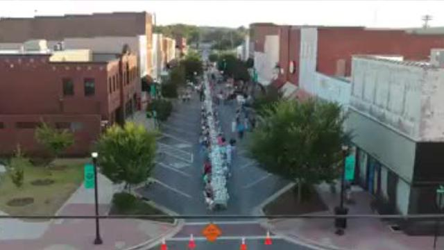 An aerial view of Downtown Dickson during the Farm to Table Dinner on Main Street.