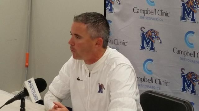Mike Norvell reacts after Memphis wins AAC West division title