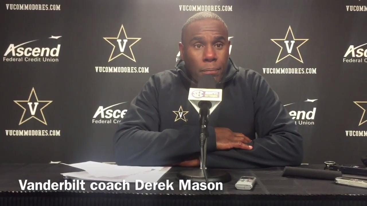 Vanderbilt coach Derek Mason after loss to Missouri