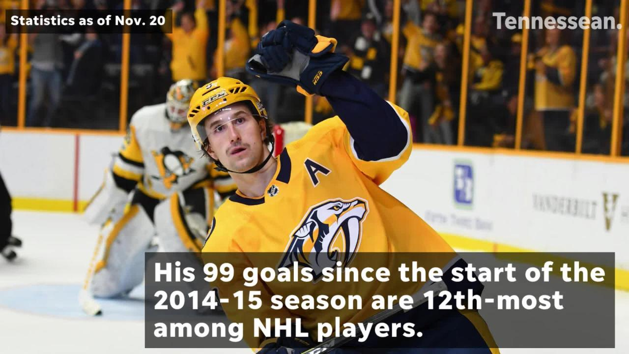 Forsberg is the second-fastest Predators player to score 100 goals for the team.