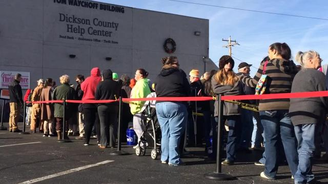 The Dickson County Help Center gave out more than 400 turkeys Monday, including sides and fixings. The Center anticipates giving away 650 turkeys before Thanksgiving.