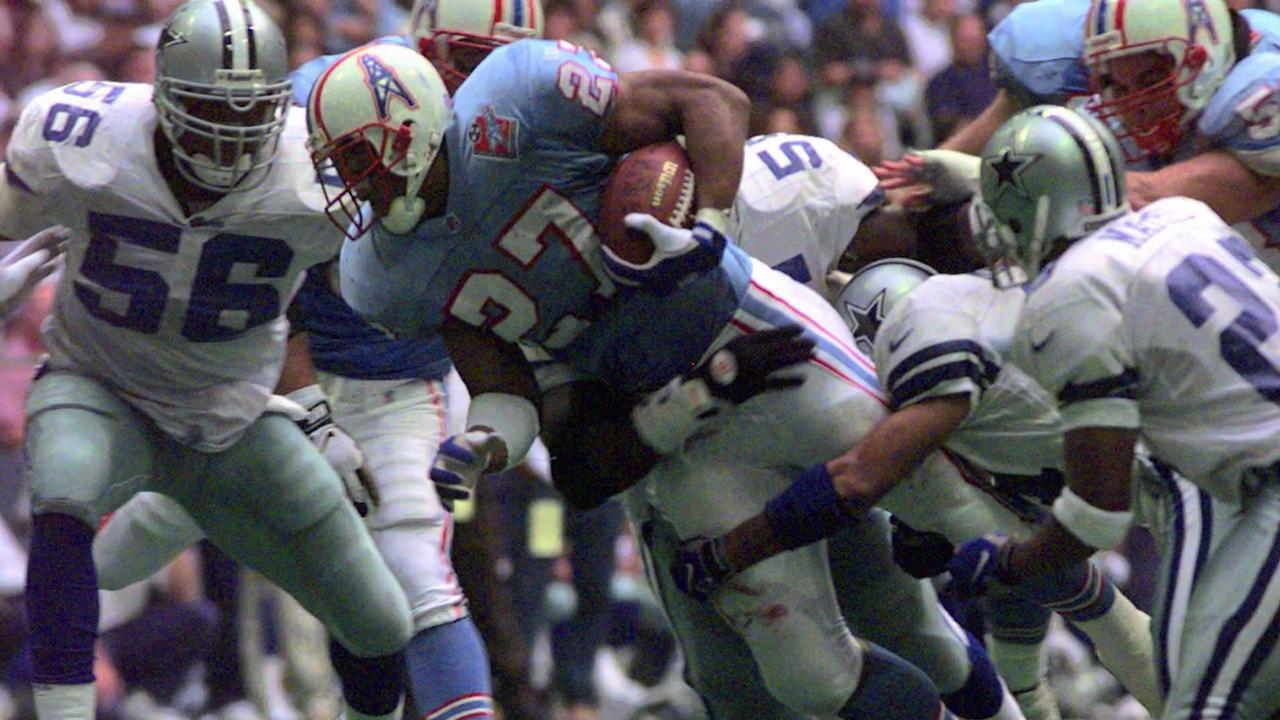 """Tennessee Titans former star running back Eddie George is No. 27 on the """"We've Got Your Number"""" all-time uniform list."""