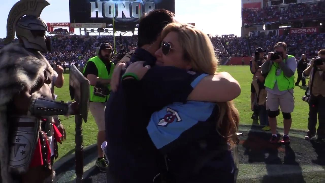 Heather Melton, wife of Las Vegas shooting victim, honored as 12th Titan