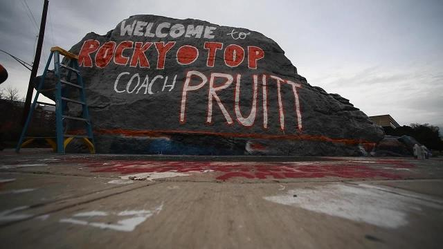 Watch a time lapse of The Rock being painted to welcome UT Vols new coach Jeremy Pruitt