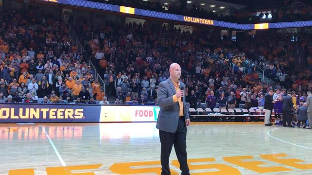 Jeremy Pruitt introduced at Vols basketball game