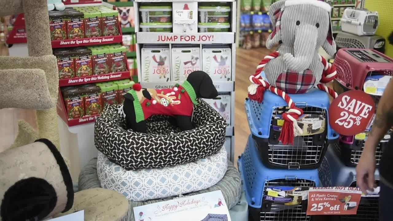 Holiday sale items at Pet Supermarket on Kingston Pike in Knoxville on Wednesday, December 13, 2017.