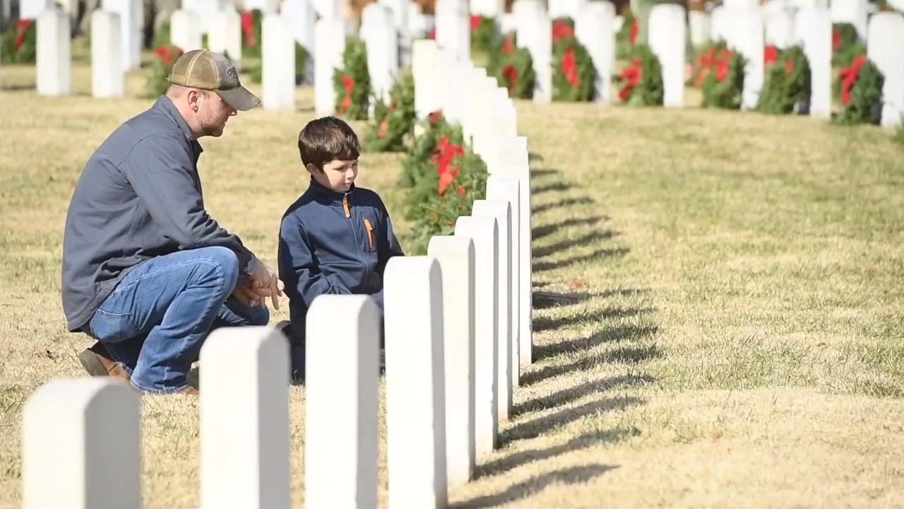 Nearly 1500 wreaths were placed on headstones at Knoxville National Cemetery in participation of Wreaths Across America.
