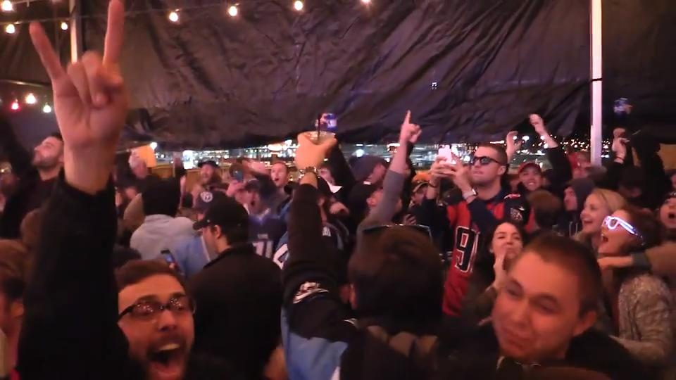 Fans celebrate in Nashville as the Titans beat the Chiefs
