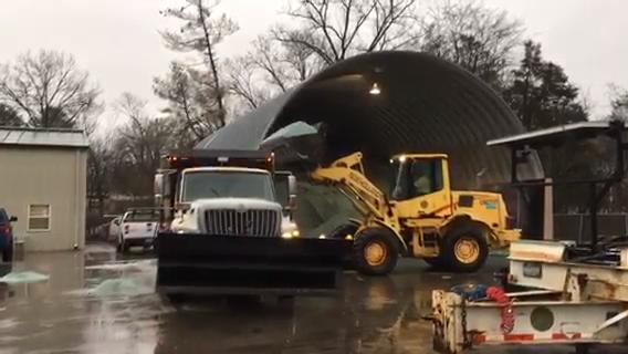 TDOT trucks loading salt in Franklin station