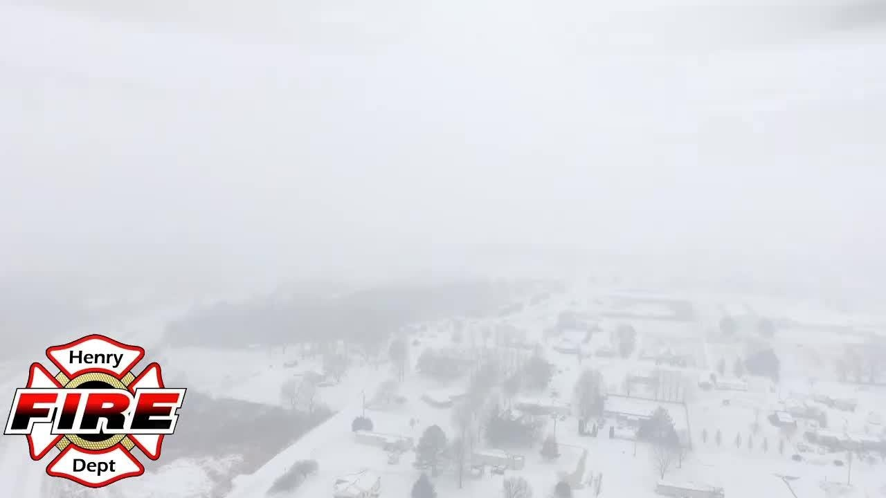 Drone footage of snow in Henry, Tennessee