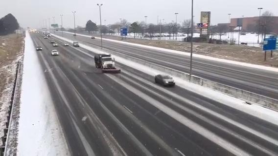 Snow conditions on I-65 in Franklin